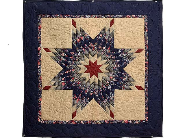 Extra Fine Navy and Burgundy Lone Star Wall Hanging Photo 1