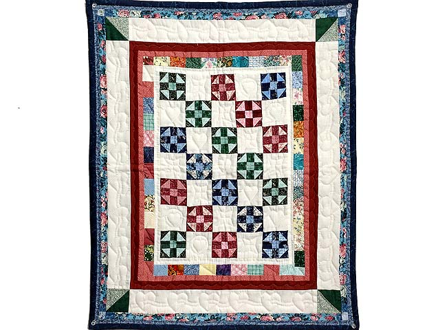 Blue Burgundy and Multicolor Shoo Fly Wall Hanging Photo 1
