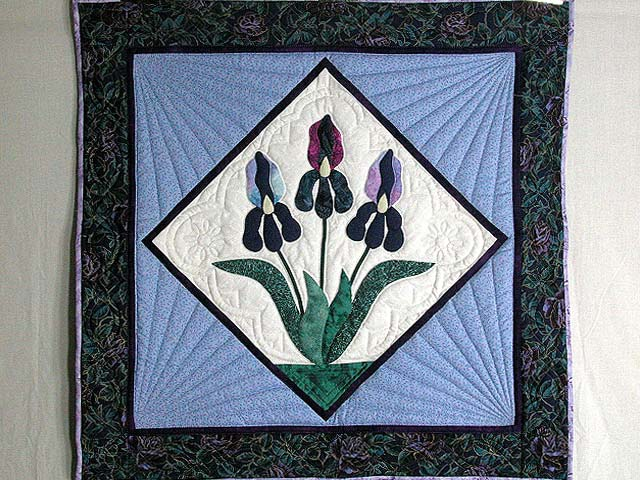 Lavender Iris Applique Wall Hanging Photo 1