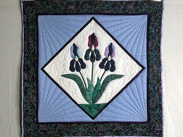 Lavender Iris Applique Wall Hanging Photo 1
