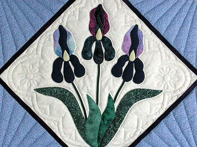 Lavender Iris Applique Wall Hanging Photo 2