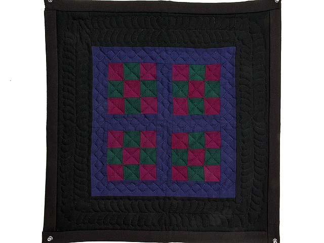 Amish Woolen Nine Patch Wall Hanging Photo 1