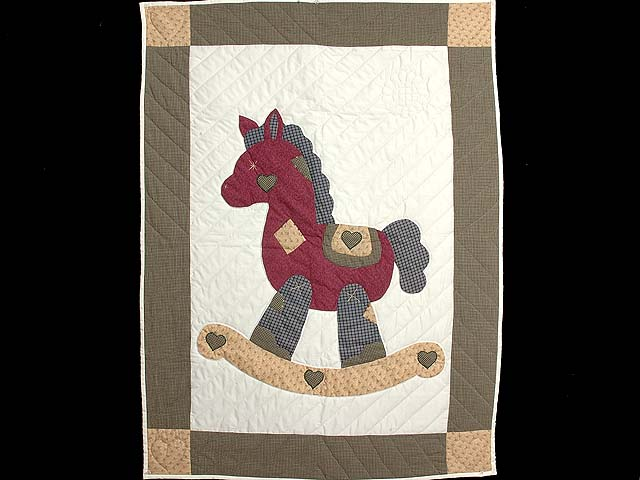 Plaid Burgundy Tan and Green Rocking Horse Crib Quilt Photo 1