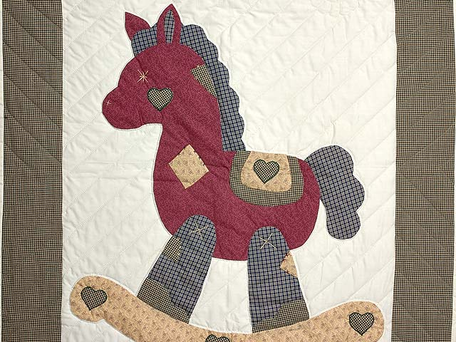 Plaid Burgundy Tan and Green Rocking Horse Crib Quilt Photo 2