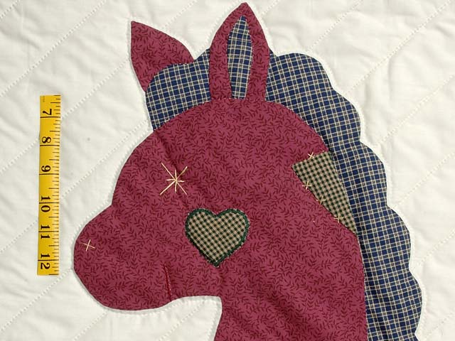 Plaid Burgundy Tan and Green Rocking Horse Crib Quilt Photo 3