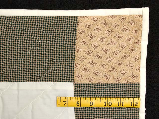 Plaid Burgundy Tan and Green Rocking Horse Crib Quilt Photo 5