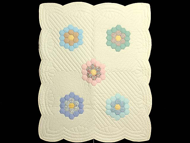 Yellow and Pastels Flower Garden Crib Quilt Photo 1