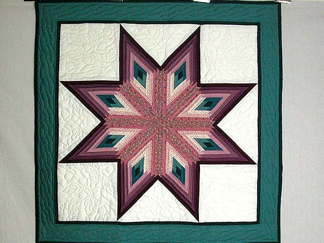 Plum and Teal Log Cabin Star Wall Hanging Photo 1