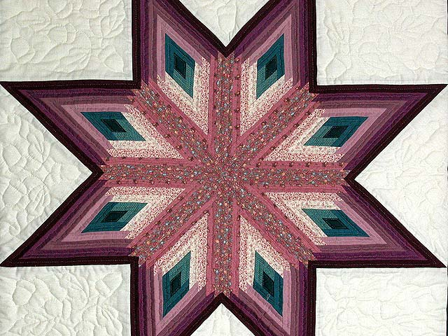 Plum and Teal Log Cabin Star Wall Hanging Photo 2