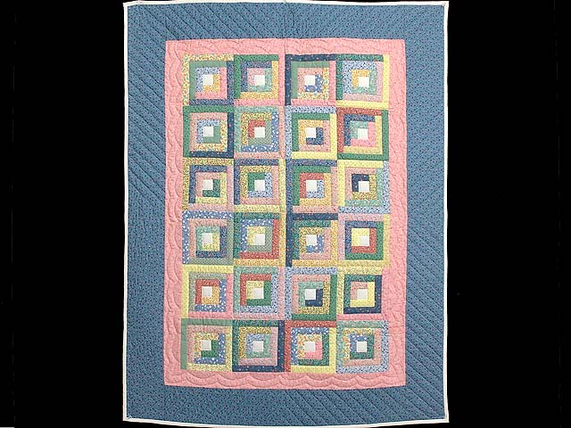 Pastel Blue Pink and Multi Log Cabin Crib Quilt Photo 1