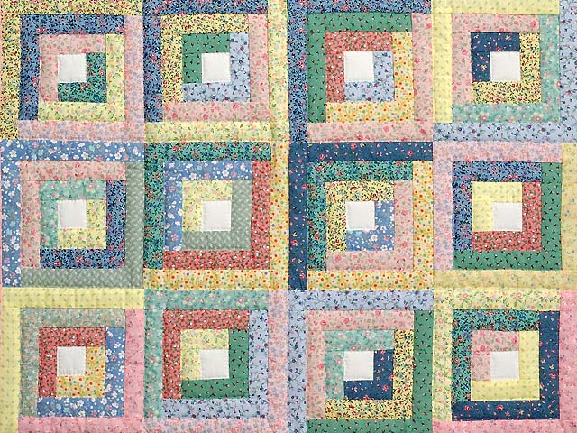 Pastel Blue Pink and Multi Log Cabin Crib Quilt Photo 2