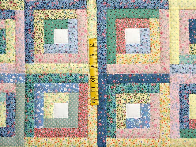Pastel Blue Pink and Multi Log Cabin Crib Quilt Photo 3