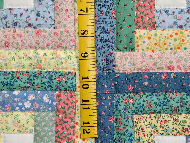 Pastel Blue Pink and Multi Log Cabin Crib Quilt Photo 4