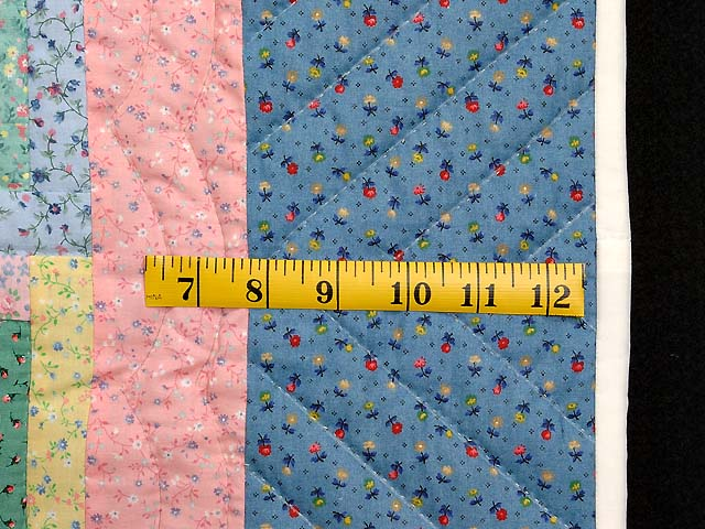 Pastel Blue Pink and Multi Log Cabin Crib Quilt Photo 5