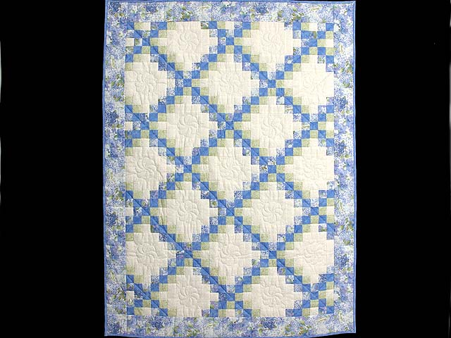 Pastel Blue and Willow Irish Chain Crib Quilt Photo 1