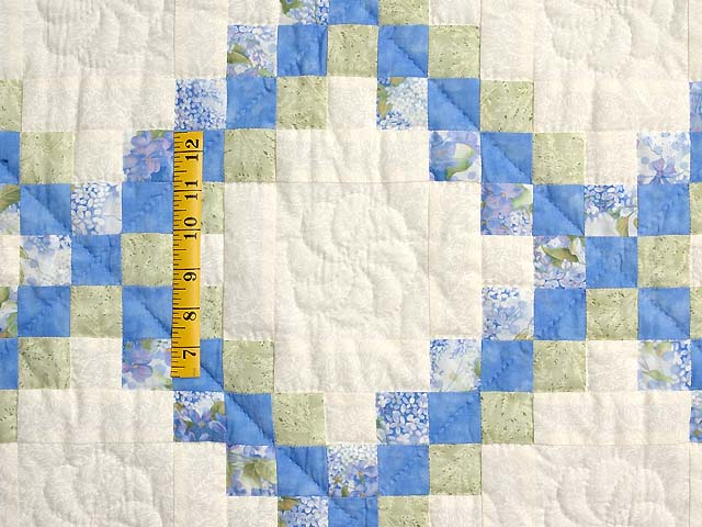 Pastel Blue and Willow Irish Chain Crib Quilt Photo 3