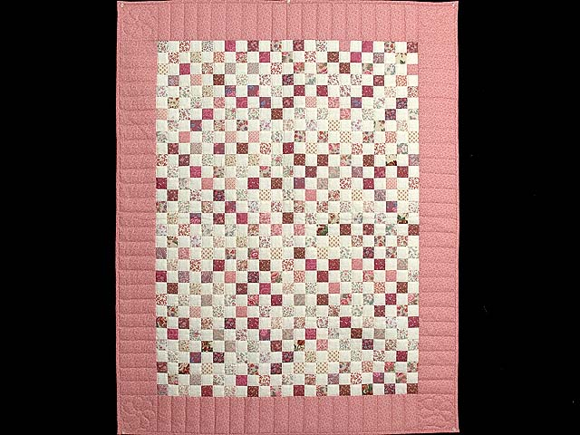 Rosy Pink and Cream Blocks Crib Quilt Photo 1