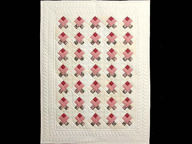 Rosebud Nine Patch Crib Quilt Photo 1