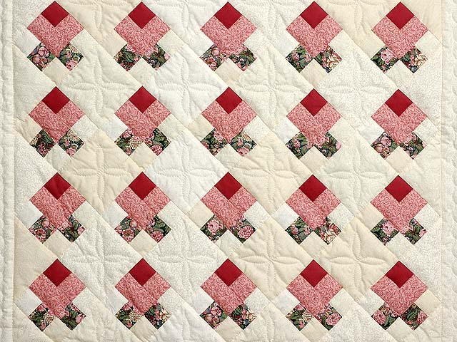 Rosebud Nine Patch Crib Quilt Photo 2