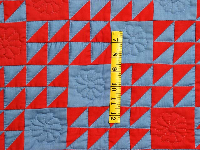 Indiana Amish Blue and Red Ocean Waves Variation Quilt Photo 3