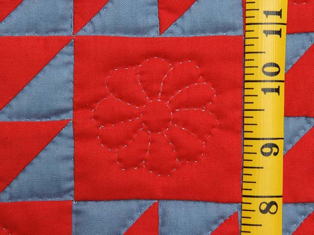 Indiana Amish Blue and Red Ocean Waves Variation Quilt Photo 4