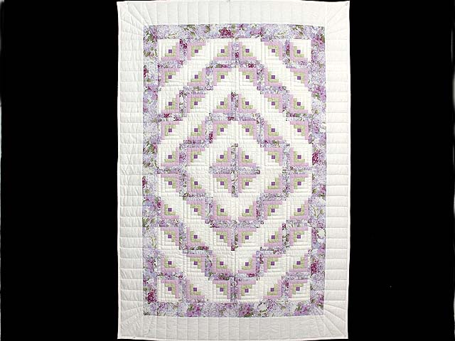 Lilac and Green Log Cabin Crib Quilt Photo 1