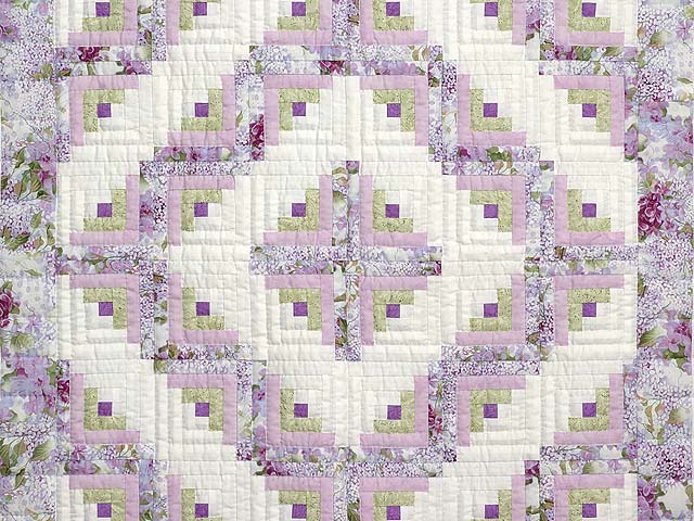 Lilac and Green Log Cabin Crib Quilt Photo 2