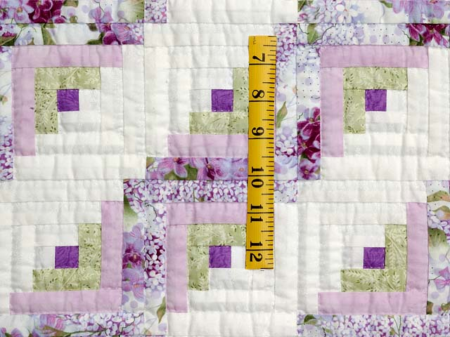 Lilac and Green Log Cabin Crib Quilt Photo 3