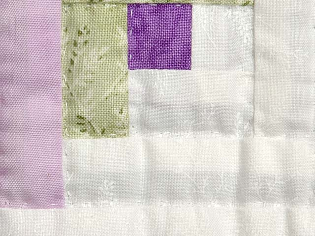Lilac and Green Log Cabin Crib Quilt Photo 5