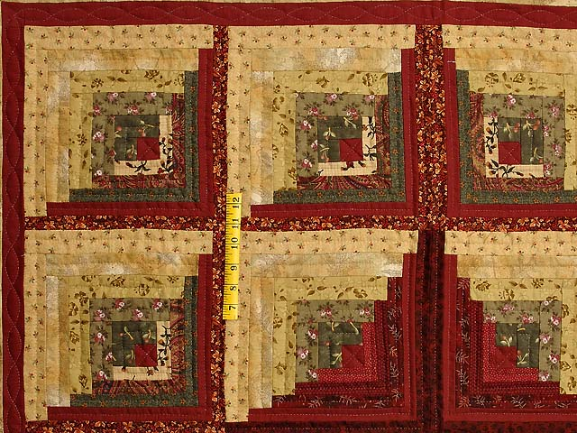 Gold Moss and Burgundy Log Cabin Throw Photo 3
