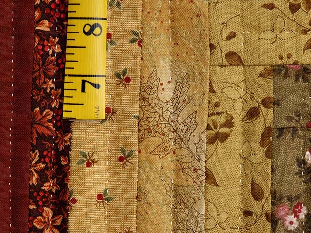 Gold Moss and Burgundy Log Cabin Throw Photo 5
