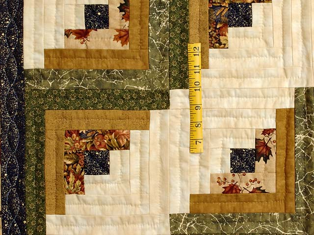 Earthtones and Navy Log Cabin Throw Photo 3