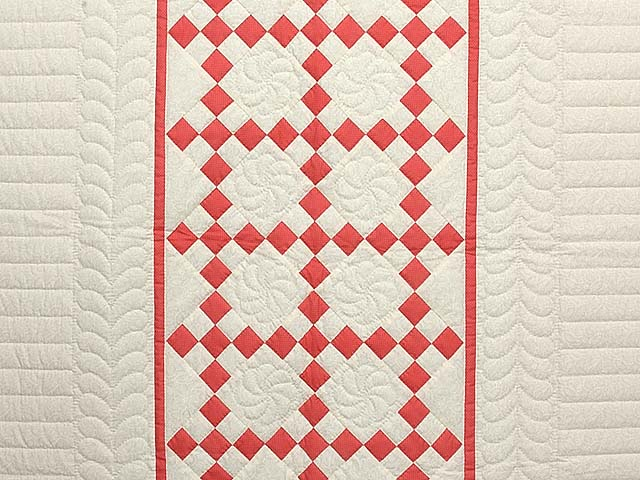 Salmon and Cream Nine Patch Crib Quilt Photo 2