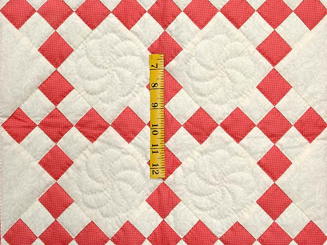 Salmon and Cream Nine Patch Crib Quilt Photo 3