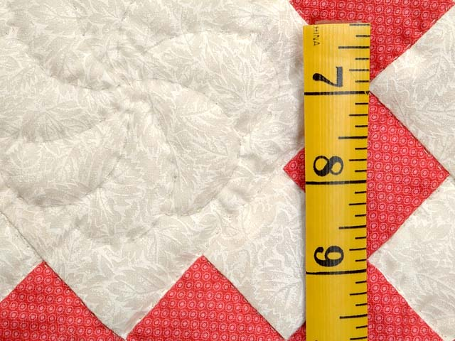 Salmon and Cream Nine Patch Crib Quilt Photo 4