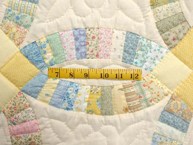 Fine Yellow and Pastel Double Wedding Ring Crib Quilt Photo 4