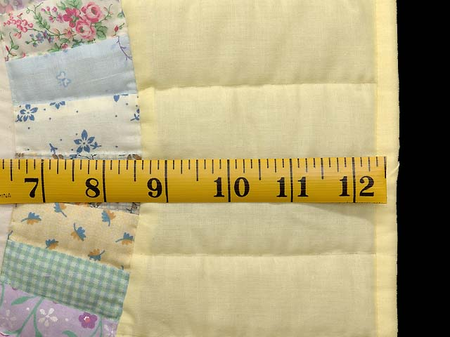 Fine Yellow and Pastel Double Wedding Ring Crib Quilt Photo 6