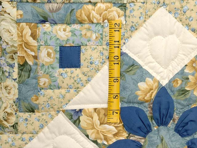Blue and Gold Dahlia Star Log Cabin Wall Hanging Photo 3