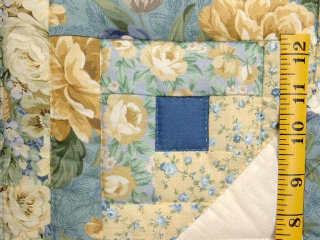 Blue and Gold Dahlia Star Log Cabin Wall Hanging Photo 4