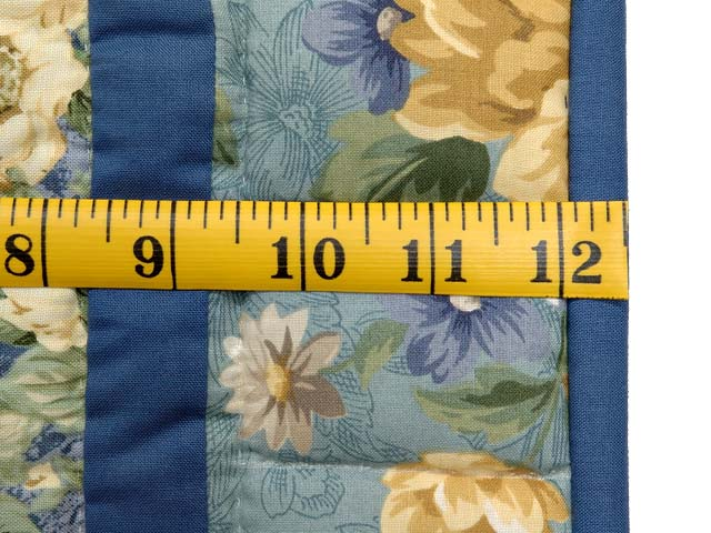 Blue and Gold Dahlia Star Log Cabin Wall Hanging Photo 5