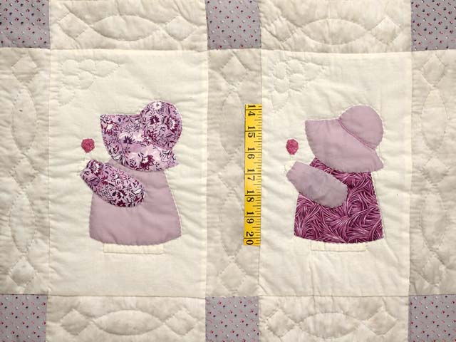 Lavender and Gray Sunbonnet Sue Crib Quilt Photo 3