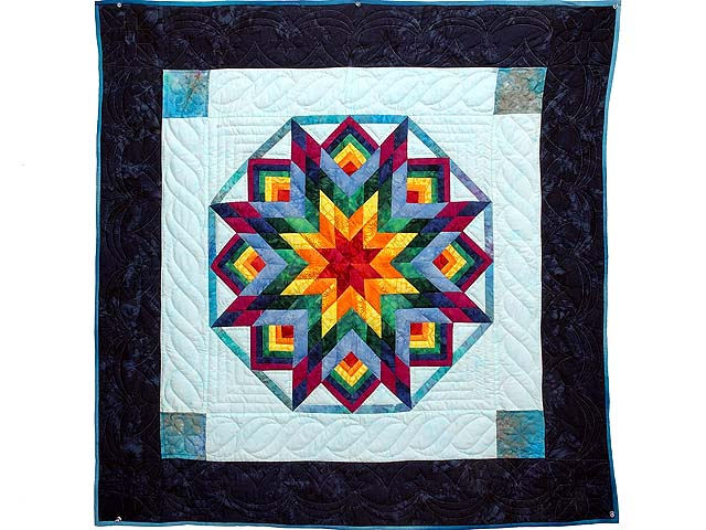 Navy Blue and Multi Batik Star Burst Wall Hanging Photo 1