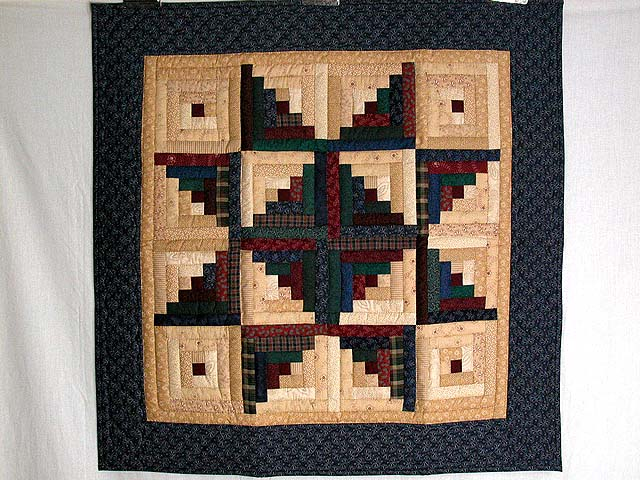 Earth Tones Log Cabin Star Wall Hanging Photo 1