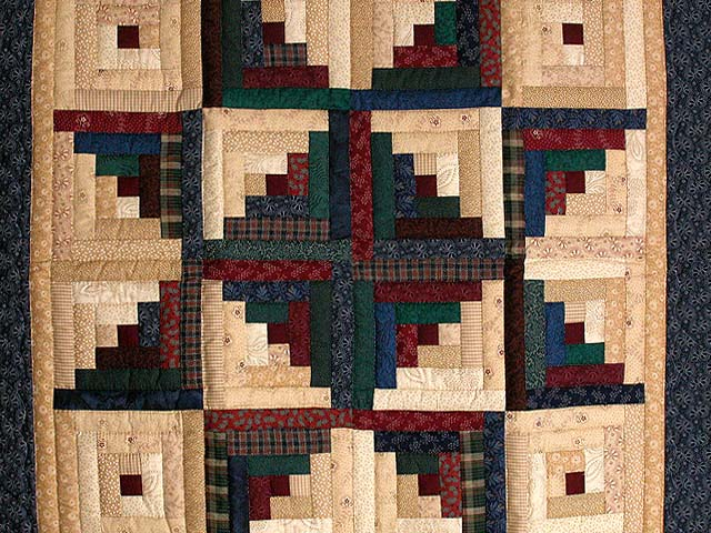 Earth Tones Log Cabin Star Wall Hanging Photo 2
