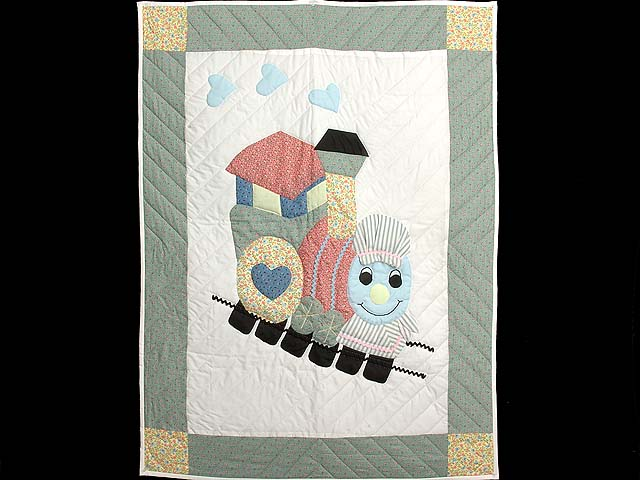 Pastel Green and Yellow Thomas Train Crib Quilt Photo 1
