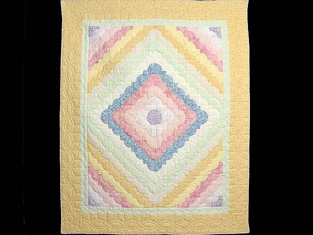 Pastel Yellow and Green Ocean Wave Crib Quilt Photo 1