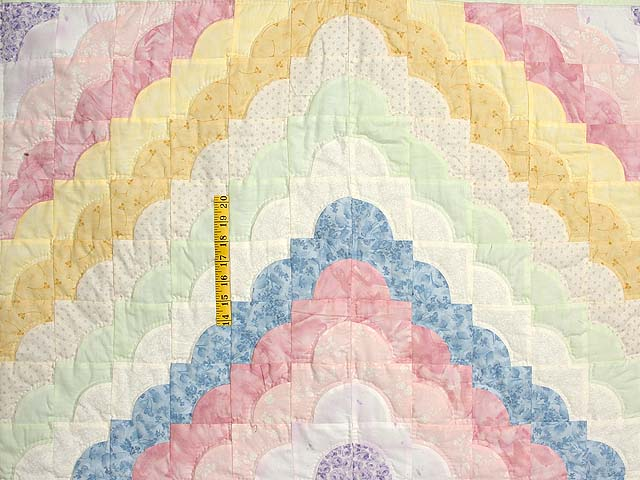 Pastel Yellow and Green Ocean Wave Crib Quilt Photo 3