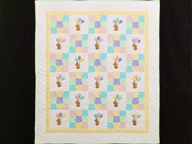 Pastel Yellow Teddy and Nine Patch Crib Quilt Photo 1