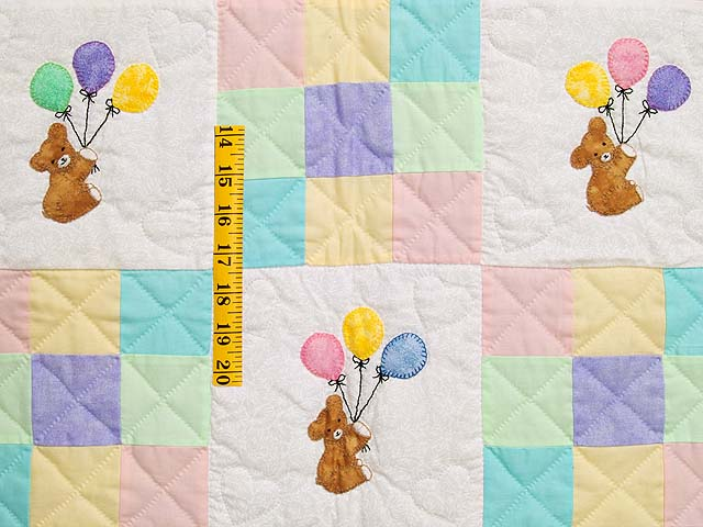 Pastel Yellow Teddy and Nine Patch Crib Quilt Photo 3