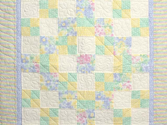 Pastel Four Patch Crib Quilt Photo 2